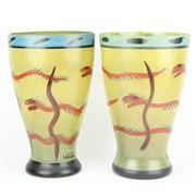 Sale 8314 - Lot 71 - Kosta Boda Nevada Pair of Vases by Ulrica Hydman-Vallien