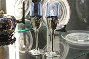 Sale 8360 - Lot 10 - Pair Of Arts & Crafts Wine Glasses with Silver Bases and Cabochon Inserts Signed David Barok 925