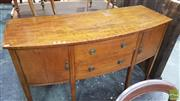 Sale 8375 - Lot 1006 - Georgian Elevated Bowfront Sideboard with two central drawers flanked by doors