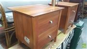 Sale 8390 - Lot 1533 - Pair of Timber Bedsides with Two Drawers
