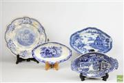 Sale 8490 - Lot 116 - Early Nineteenth Century Blue & White Lozenge Shaped Dish, 2 Other Dishes & a Warming Plate (4)