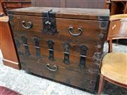 Sale 8792 - Lot 1045 - Korean Pine & Iron Mounted Chest, with dovetailed body & hinged front (lock in office)