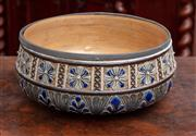 Sale 8804A - Lot 92 - A Doulton Lambeth salad bowl with floral decoration by artist Francis E Lee dated 1880, (loose metal rim) diameter 25cm