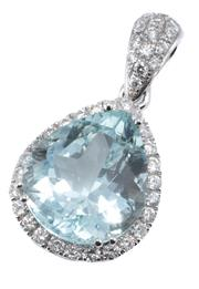 Sale 8937 - Lot 374 - AN 18CT WHITE GOLD AQUAMARINE AND DIAMOND PENDANT; centring an approx. 5.5ct pear cut aquamarine to surround and bale set with 41 ro...