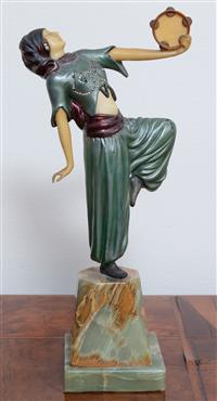 Sale 8963H - Lot 33 - A German Art Deco Gypsy dancer in cold painted bronze paste set and with celluloid, on a stepped onyx base, not marked, crack to tam...