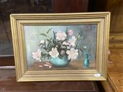 Sale 9087 - Lot 2082 - Winifred Bell Camelias oil on canvas on board 27 x 37cm, signed lower right