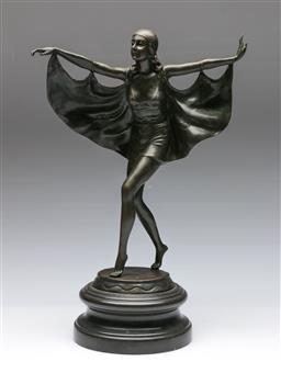 Sale 9138 - Lot 72 - After Otto Poertzl Bronze Figure of A Caped Dancer (Height 47cm)