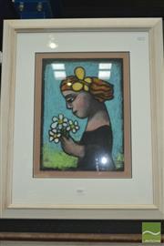 Sale 8425T - Lot 2001 - Kay Singleton Keller, Woman with Flowers, original pastel painting, 37 x 27cm