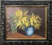 Sale 8659 - Lot 2004 - Artist Unknown  Still Life - Wattle oil on canvas on board, 43 x 50cm (frame), signed lower left