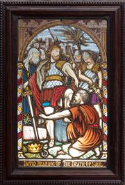 Sale 8804A - Lot 120 - A late Victorian framed, stained glass panel depicting David Hearing of The Death of Saul, panel 63 x 38cm