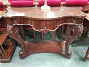 Sale 8868 - Lot 1070 - Victorian Mahogany Serpentine Front Hall Table, with concealed frieze drawer, cabriole legs & concave plinth