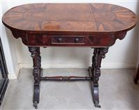 Sale 8963H - Lot 34 - A Victorian specimen side table, the oval top inlaid in walnut, yew wood and other timbers with a small frieze drawer and turned leg...