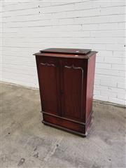 Sale 9068 - Lot 1068 - Unusual & Small Late 19th Century Cedar Cabinet, with two long shield panel doors, enclosing a pigeon-hole interior & central...