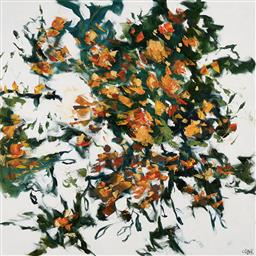 Sale 9221JM - Lot 5022 - CHERYL CUSICK Golden Blooms acrylic on canvas 101.5 x 101.5 cm signed lower right, titled verso