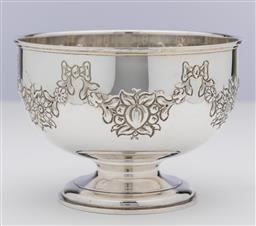 Sale 9245R - Lot 46 - A good English hallmarked sterling silver large strawberry bowl, Mills & Hersey, London 1972, embossed with floral and fruiting garl...