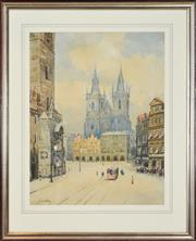 Sale 8325 - Lot 584 - J. Novotny (XIX - XX) - Cathedral 56 x 44cm