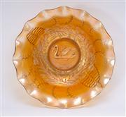 Sale 8376A - Lot 14 - An Australian Swan Carnival Glass Master Bowl in Marigold. Rd 4697 by Crown Crystal, W: 23cm, 9.5