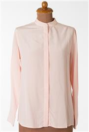 Sale 8550F - Lot 28 - Two 100% silk Grana blouses; one in baby pink with no collar  and another royal blue, both size M.