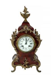 Sale 8618A - Lot 18 - An antique 19th Century French Rococo red boule mantel clock by Japy Freres;