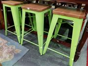 Sale 8657 - Lot 1087 - 3 x Tolix style timber and green metal stools - as new