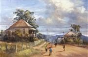 Sale 8704 - Lot 557 - DArcy W Doyle (1932 - 2001) - Schools Out 59 x 89.5cm