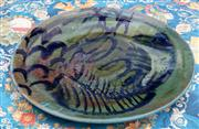 Sale 8782A - Lot 97 - A Large Michael Puch (Buderim) QLD pottery platter with green and blue abstract glaze.  Diameter 55cm