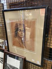 Sale 8924 - Lot 2062 - Artist Unknown (early C20th) Egyptian Woman etching and aquatint, 54.5 x 40.5cm (frame), signed -