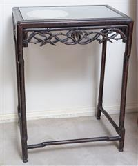 Sale 8963H - Lot 71 - A Chinese Rosewood side table carved with bamboo frieze, Height 70cm x Width 52cm x Depth 36cm