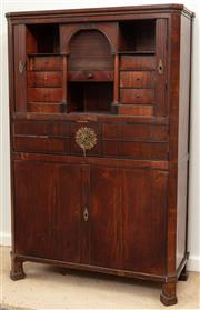 Sale 8976H - Lot 77 - An Austro-Hungarian Empire fruitwood bureau abatant, the upper tambour shutters and closing arcade with further shutter and drawers...