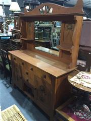 Sale 9006 - Lot 1083 - Maple Mirrored Back Dresser with Carved Panel Doors (h:96 x w:192 x d:47cm)