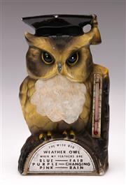 Sale 9078 - Lot 142 - A Japanese Vintage Wise Old Weather Owl Thermometer, H:14cm