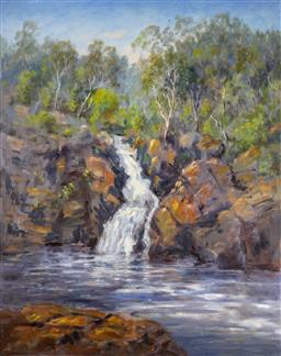 Sale 9143A - Lot 5039 - BRAD BOYD (1946 - ) (3 works) - Near Broken Falls - Grampians; Near Silverband Falls - Grampians; Cottage 83.5 x 66 cm ; 83.5 x 66 c...