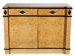 Sale 9130S - Lot 14 - An R.D. Kirkman & Co. birds eye maple two drawer two door sideboard with sliding cutlery compartments, Height 93cm x Width 127cm x D...