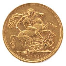 Sale 9130E - Lot 9 - An Edward VII 22 carat gold Sydney mint sovereign dated 1906, Weight 7.96g