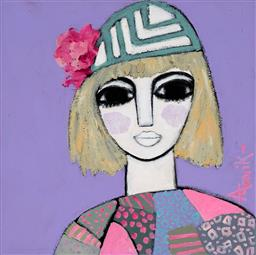 Sale 9174JM - Lot 5004 - LEENE AAVIK (1944 - ) Favourite Hat acrylic on canvas 40 x 40 cm signed lower right, titled verso