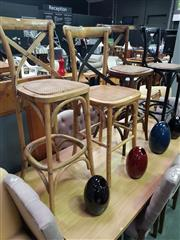 Sale 8669 - Lot 1051 - Set of Four Oak Cross Back Kitchen Stools in Various Finishes