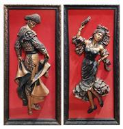 Sale 8740 - Lot 1060 - Framed Matador & Lady Dancer (2)