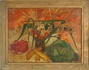 Sale 8833 - Lot 2005 - Artist Unknown Country Table and Native Flowers oil on board, 44.5 x 62cm, signed -