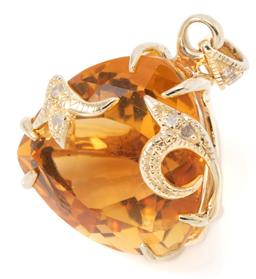Sale 9145 - Lot 359 - A CITRINE AND DIAMOND PENDANT; 9ct gold organic setting featuring a trilliant cut golden citrine and 6 single and rose cut diamonds...