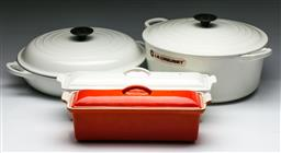 Sale 9144 - Lot 41 - Suite of Le Creuset inc large croquet pot (28), saucepan (30) and a casserole dish (32) together with another orange example