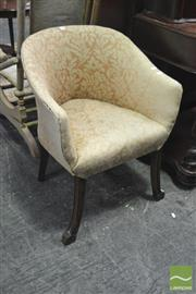 Sale 8345 - Lot 1050 - Beech Tub Chair, with pink floral print & on splayed reeded legs.