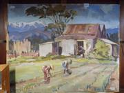 Sale 8429A - Lot 2091 - Gwen Cashmore Rice Field Workers oil painting