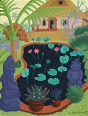 Sale 8755 - Lot 503 - Anne Graham (1925 - ) - Untitled, 1992 (Garden Pond) 24.5 x 19cm