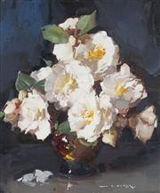 Sale 8764 - Lot 510 - Alan Douglas Baker (1914 - 1987) - Still Life - Camelias 30 x 24cm