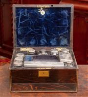 Sale 8804A - Lot 162 - A good Victorian coromandel travelling case fitted with partially silver topped canisters, London maker TJ and with jewellery drawer...