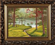 Sale 8804A - Lot 187 - A framed hand worked tapestry depicting a lake within a glade, 30 x 40cm