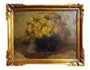Sale 8891H - Lot 84 - LOUIS DEMESMAEKER (1906 - 1989) Belgium - Bouquet de Roses Jaunes 28.0 x 36.0cm