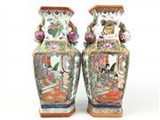 Sale 8995H - Lot 9 - A pair of famille verte vases, each height 36cm