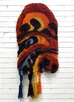 Sale 9117 - Lot 1021 - Vintage woven textile depicting psychedelic landscape (h156 x w74cm) -