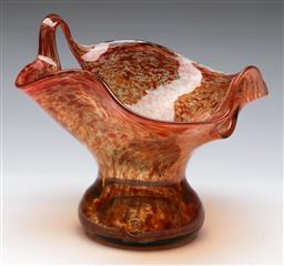 Sale 9156 - Lot 43 - An art glass basket form vase (H 19cm W 21cm)